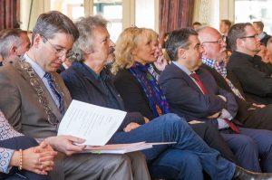 Goslars Oberbürgermeister Oliver Junk, Wolfgang Niedecken, Tina Niedecken und Bundesaußenminister Sigmar Gabriel